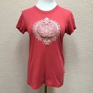 Lucky Brand Lucky Tees Small Coral Embroidered Tee